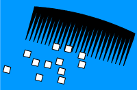 Charge comb attracts bits of paper