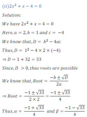 quadratic equation exercise 4.1_12