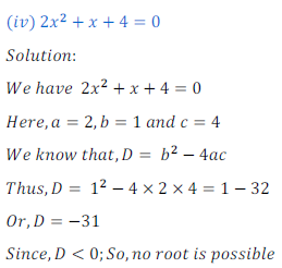 quadratic equation exercise 4.1_14